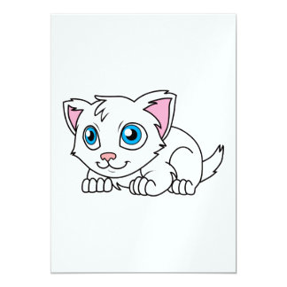 Happy Cute White Persian Cat with Blue Eyes 5x7 Paper Invitation Card