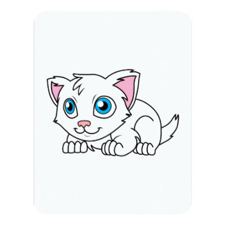 Happy Cute White Persian Cat with Blue Eyes 4.25x5.5 Paper Invitation Card
