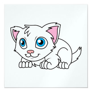 Happy Cute White Persian Cat with Blue Eyes 5.25x5.25 Square Paper Invitation Card