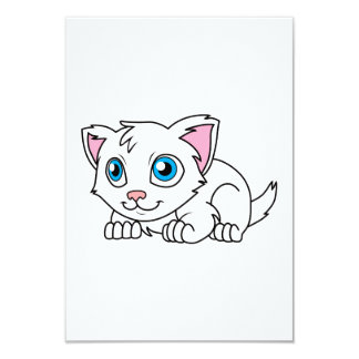Happy Cute White Persian Cat with Blue Eyes 3.5x5 Paper Invitation Card