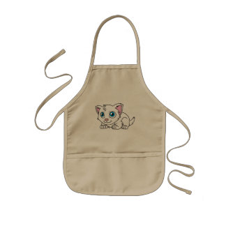 Happy Cute White Persian Cat with Blue Eyes Kids' Apron
