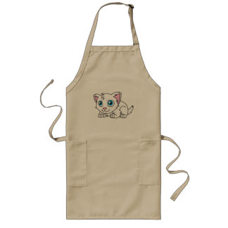 Happy Cute White Persian Cat with Blue Eyes Long Apron