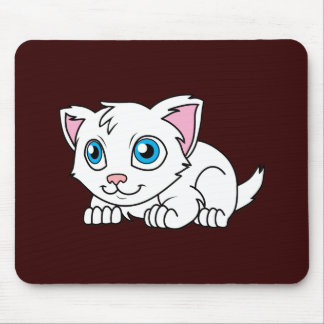 Happy Cute White Persian Cat with Blue Eyes Mouse Pad
