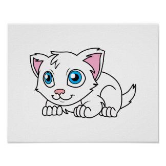 Happy Cute White Persian Cat with Blue Eyes Poster
