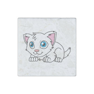 Happy Cute White Persian Cat with Blue Eyes Stone Magnet