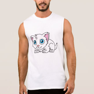 Happy Cute White Persian Cat with Blue Eyes Sleeveless T-shirts