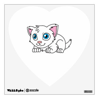 Happy Cute White Persian Cat with Blue Eyes Wall Decal