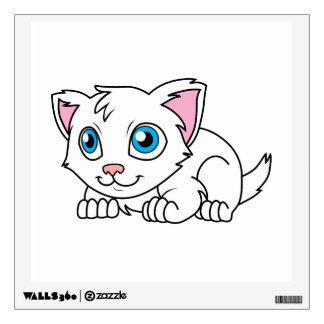 Happy Cute White Persian Cat with Blue Eyes Wall Sticker