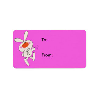 Happy Cute White Rabbit Gift Tag Personalized Address Label