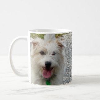 Happy Cute  White Terrier Puppy Coffee Mug