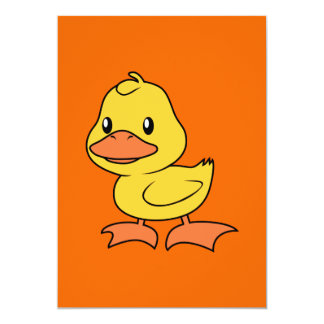 Happy Cute Yellow Duckling 5x7 Paper Invitation Card