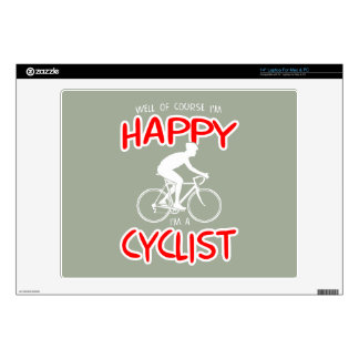 Happy Cyclist (wht) Decal For Laptop