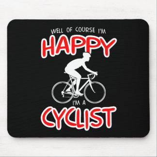 Happy Cyclist (wht) Mouse Pad
