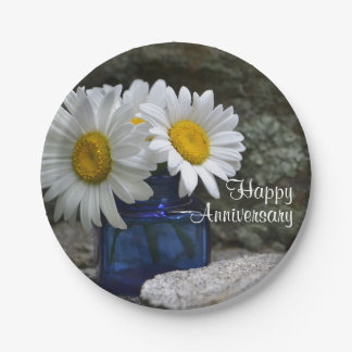 Happy Daisies Anniversary Paper Plate