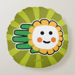 Hand shaped Happy Daisy Flower Round Pillow