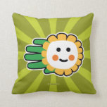 Hand shaped Happy Daisy Flower Throw Pillow