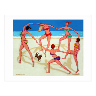 Happy Dance - Girls on Vacation at the Beach! Postcard