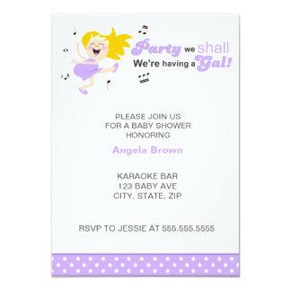 "Happy Dance lilac purple modern girl baby shower 5"" X 7"" Invitation Card"