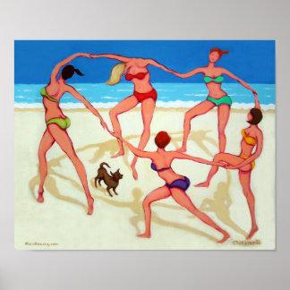 Happy Dance - Women Celebrate the Beach Poster