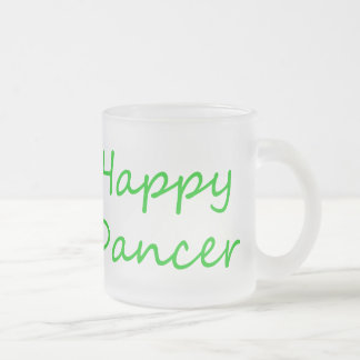 Happy Dancer green script Frosted Glass Coffee Mug