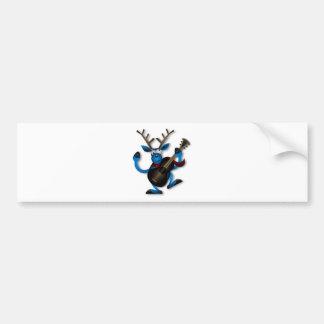 Happy Dancing Blue Reindeer Playing a Guitar Car Bumper Sticker