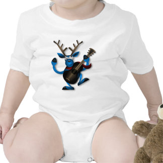 Happy Dancing Blue Reindeer Playing a Guitar Baby Creeper