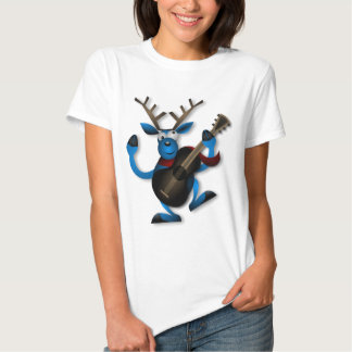 Happy Dancing Blue Reindeer Playing a Guitar Tshirts