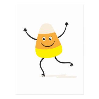 Happy dancing candy corn postcard