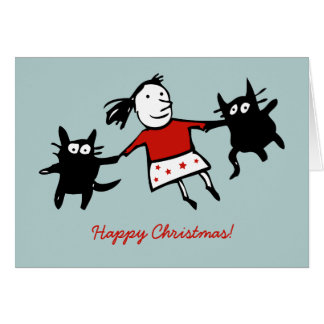 Happy Dancing Cats Blue Christmas Card (Blue)