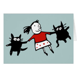 Happy Dancing Cats Blue Greeting Card