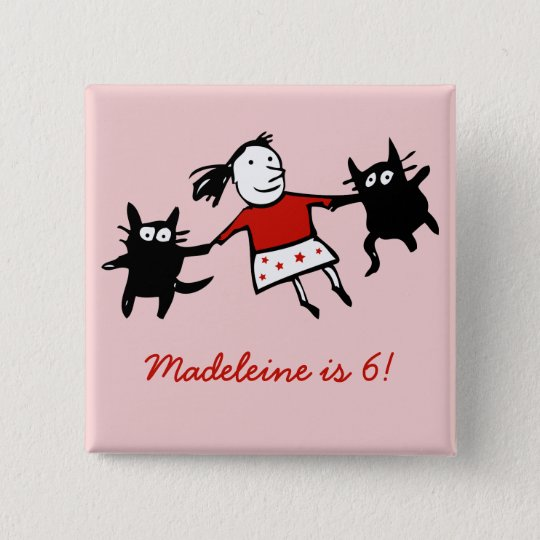 Happy Dancing Cats Pink Birthday Button