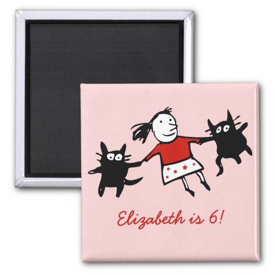 Happy Dancing Cats Pink Birthday Magnet