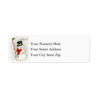 Happy Dancing Christmas Snowman Label