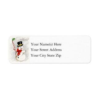 Happy Dancing Christmas Snowman Label