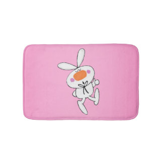 Happy Dancing Cute Cartoon White Rabbit Bunny Bathroom Mat