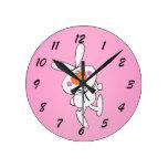 Happy Dancing Cute Cartoon White Rabbit Bunny Wallclock