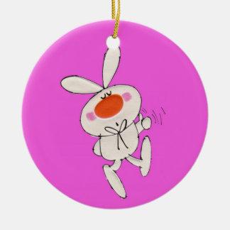 Happy Dancing Cute White Rabbit Ornaments