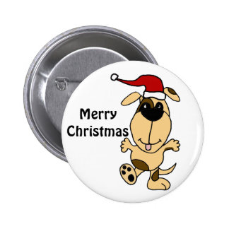 Happy Dancing Dog in Santa Hat Christmas Cartoon Button