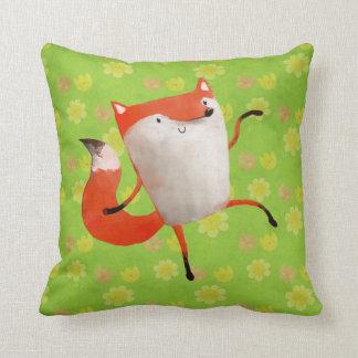 Happy Dancing Fox Throw Pillows