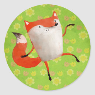 Happy Dancing Fox Round Stickers
