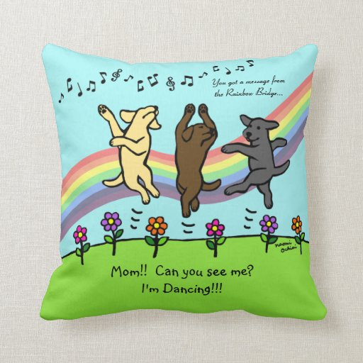 Happy Dancing Labrador Trio at the Rainbow Bridge Throw Pillow