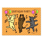 Happy Dancing Labrador Trio Cartoon Custom Invites