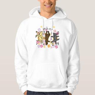 Happy Dancing Labrador Trio Cartoon Floral Hoodie