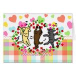 Happy Dancing Labrador Trio Cartoon Greeting Card