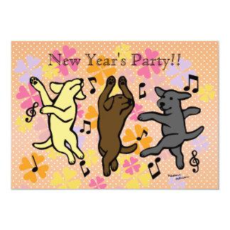 Happy Dancing Labrador Trio Cartoon New Year Card