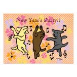 Happy Dancing Labrador Trio Cartoon New Year Custom Invite