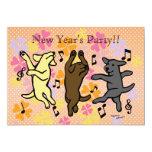 """Happy Dancing Labrador Trio Cartoon New Year 5"""" X 7"""" Invitation Card"""