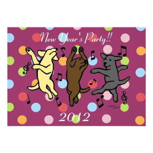 Happy Dancing Labrador Trio Cartoon New Year Announcements