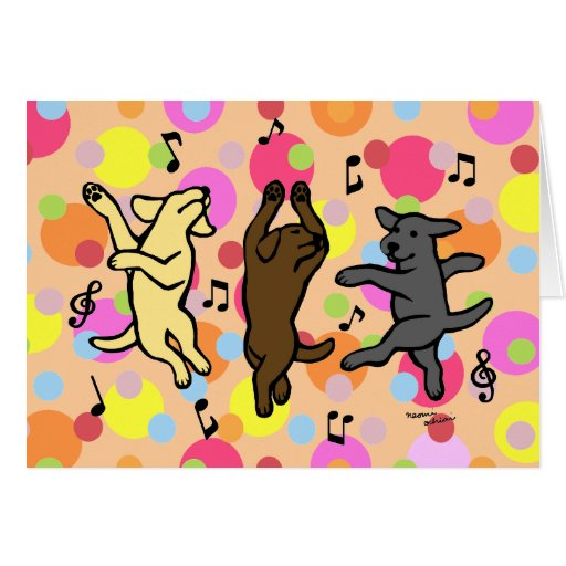 Happy Dancing Labrador Trio Cartoon Polka Dot Card