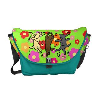 Happy Dancing Labrador Trio Messenger Bag